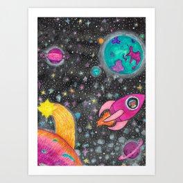 Space Cat Adventures! Art Print