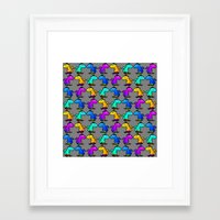 psychadelic Framed Art Prints featuring Psychadelic skate dinos by Joe Schultz