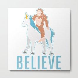 Funny Bigfoot Sasquatch Unicorn Gift Metal Print