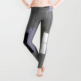 White Hairline Gray Squares Leggings