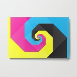 CMYK triangle spiral Metal Print