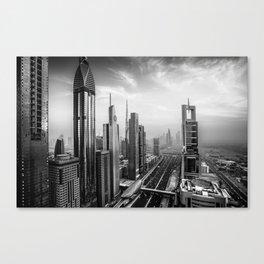 Dramatic Dubai skyline in black an white Canvas Print