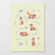 Fox and Bird Pattern Canvas Print