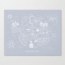 Neverland Map - Gray Canvas Print