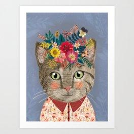 Grey cat with flower crown Art Print