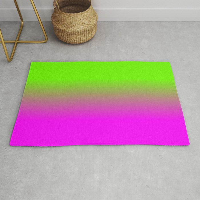 Neon Green and Hot Pink Ombré  Shade Color Fade Rug
