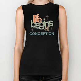 Life Begins At Conception Biker Tank