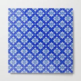 Sapphire Blue Patchwork Metal Print