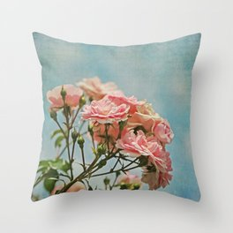 Vintage Inspired Pink Roses in Pastel Blue Sky with French Script Throw Pillow