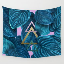 tropical turquoise leaves pattern Wall Tapestry
