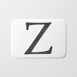Letter Z Initial Monogram Black and White Bath Mat