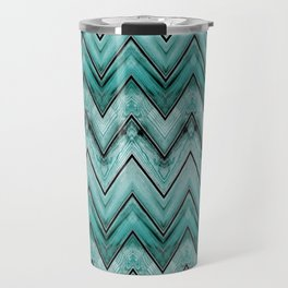 Turquoise Wood Chevron Pattern Travel Mug