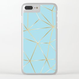 blue pastel and gold polygon Clear iPhone Case