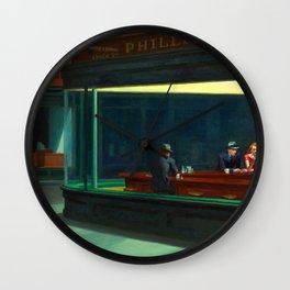 Nighthawks Painting Restored Edward Hopper Wall Clock
