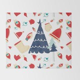 Christmas tree blue Throw Blanket