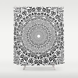 DEEP BLACK AND WHITE MANDALA Shower Curtain