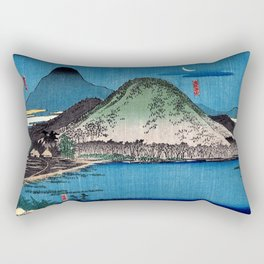 Night View of Anyoji Temple of Maruyama by Hasegawa Sadanobu - Japanese Vintage Ukiyo-e Rectangular Pillow