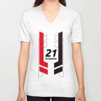 senna V-neck T-shirts featuring Formula E 2015/2016 - #21 Senna by MS80 Design