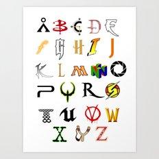 The Alphabet of geekdom Art Print