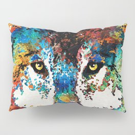 Wolf Art Print - Hungry - By Sharon Cummings Pillow Sham