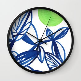 Navy blue and lime green abstract leaves Wall Clock