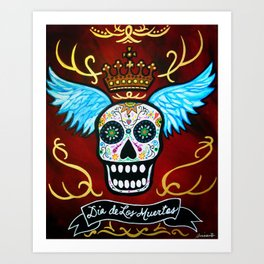 Mexican Winged Muertos Dia de los Muertos Painting Art Print