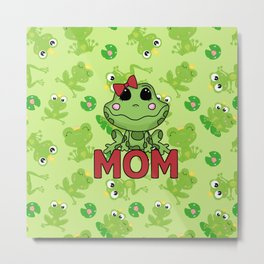 Mom Green Frog Mothers Day Metal Print