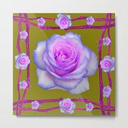 PINK-BLUE TINGED ROSES ON KHAKI COLOR Metal Print