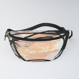 It comes and goes - a black and white abstract mixed media piece with pink details Fanny Pack