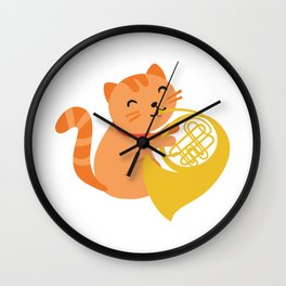 Cat Playing French Horn design Musician Orchestra Gift Wall Clock