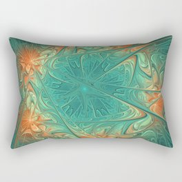Frozen Flowers I Abstract orange flower, ice mint green water, cute floral pattern Rectangular Pillow