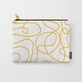 Doodle Line Art | Mustard Yellow Lines on White Carry-All Pouch
