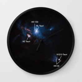 Hubble Space Telescope - Jets, bubbles and bursts of light in Taurus — annotated Wall Clock