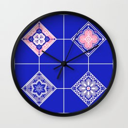 Talavera Mexican Tile – Pink & Periwinkle Palette Wall Clock