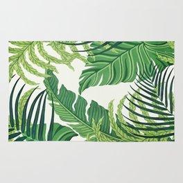Green tropical leaves II Rug