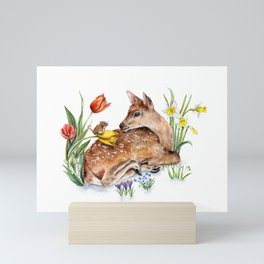 Spring Deer and Harvest Mouse Mini Art Print