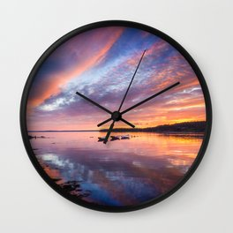 Sunset in French Village, Nova Scotia Wall Clock