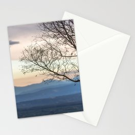 Naked tree on sunset landscape Stationery Cards
