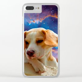 beagle puppy on the wall looking at the universe Clear iPhone Case