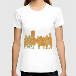 Boston, Massachusetts Skyline - Rust T-shirt