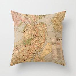 Vintage Map of Boston MA (1902) Throw Pillow