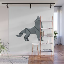 Origami Gray Wolf Wall Mural