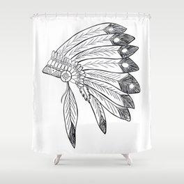 Native american indian headdress illustration Shower Curtain