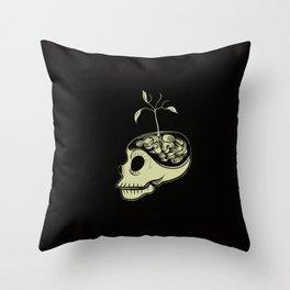 Cute Skulls Think Green Throw Pillow