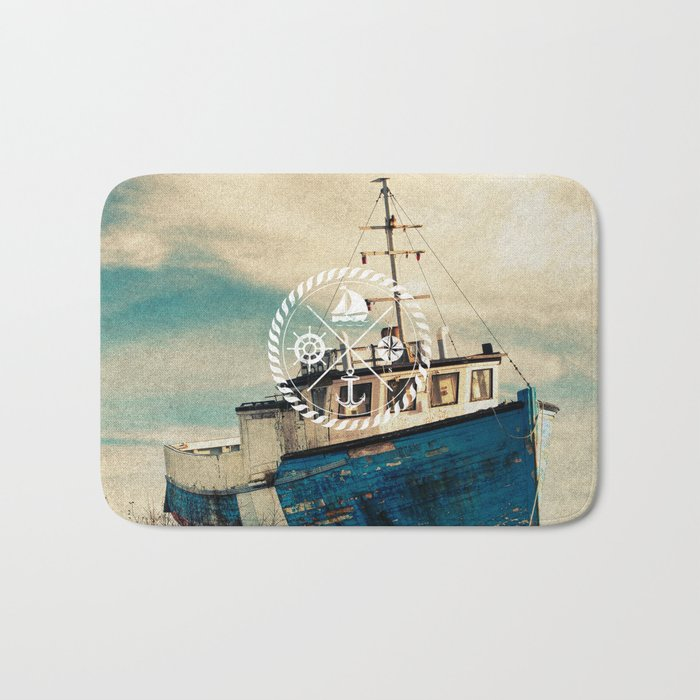 Blue Brown Vintage Nautical Anchor Sailing Boat Bath Mat