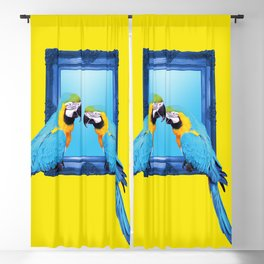 Macaw Bird sitting on frame yellow Blackout Curtain