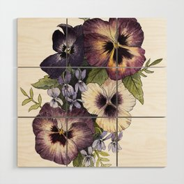 Watercolor Pansy Bouquet Wood Wall Art