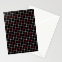 Dotted Grid Weave Black Red Stationery Cards