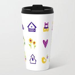 New folk icons : blue yellow Travel Mug