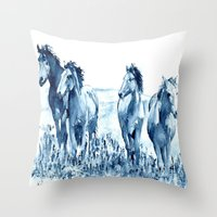 horses Throw Pillows featuring horses by Michele Petri